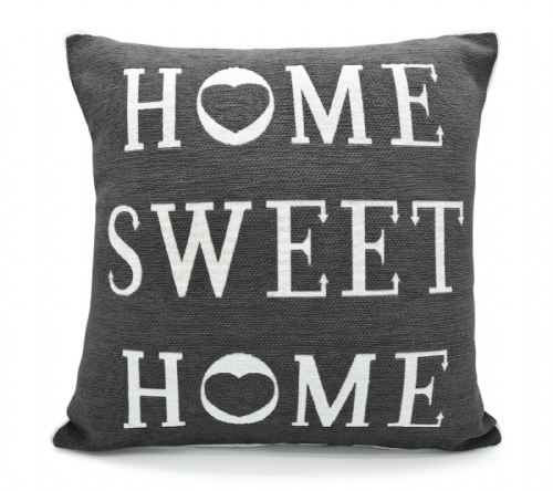 STYLISH SHABBY CHIC DESIGN HOME SWEET HOME FILLED CUSHION CHARCOAL COLOUR